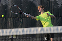 STAFF PHOTO FLIP PUTTHOFF <br /> Riley McGill practices on Wednesday Aug. 6 2014 with the Rogers High School tennis team.