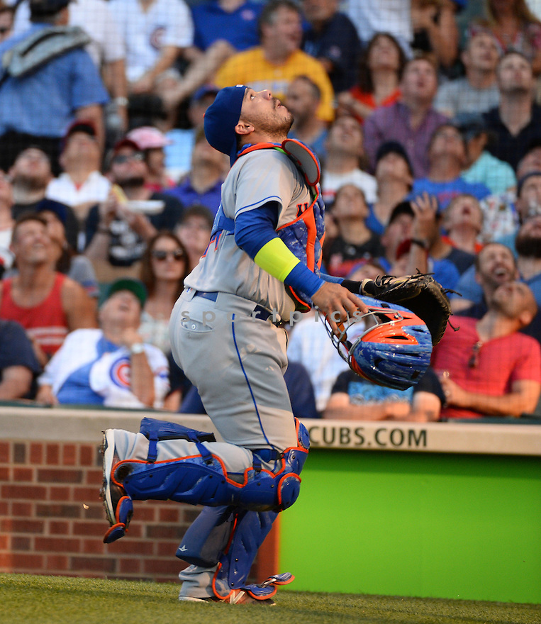 New York Mets Rene Rivera (44) during a game against the Chicago Cubs on July 19, 2016 at Wrigley Field in Chicago, IL. The Mets beat the Cubs 2-1.