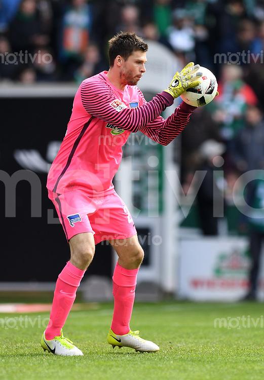 FUSSBALL     1. BUNDESLIGA      31. SPIELTAG    SAISON 2016/2017  SV Werder Bremen - Hertha BSC Berlin                          29.04.2017 Torwart Rune Jarstein (Hertha BSC Berlin)