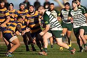 Lachlan Collier  in his 100th game for Manurewa makes a run at Palu Ale. Counties Manukau Premier Club Rugby game between Manurewa and Patumahoe, played at Mountfort Park Manurewa on Saturday June 23rd 2018. Patumahoe won the game 29 - 24 after trailing 12 - 19 at halftime.<br /> Manurewa Kidd Contracting 24 - Petelo Ikenasio, David Osofua, Paolelei Luteru, Pisi Leilua tries, Timothy Taefu 2 conversions,<br /> Patumahoe Troydon Patumahoe Hotel 29 - Kalim North, Shea Furniss, Jonny Wilkinson, Mark Royal, James Brady tries,  Broc Hooper 2 conversions.<br /> Photo by Richard Spranger