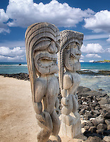 Totems at Pu`uhonua O Hōnaunau National Historical Park, Hawai'i (The Big Island)