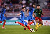 June 8th 2017, Créteil, France, U-21 International football friendly, France versus Cameroon;  Maxime Lopez (fra) crosses against Pierre Kunde Malong (cam)