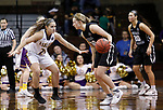 SIOUX FALLS, SD: MARCH 23:  Paige Redmond #00 of Central Missouri drives toward Brooke Smith #24 of Ashland during their game at the 2018 Division II Women's Basketball Championship at the Sanford Pentagon in Sioux Falls, S.D. (Photo by Dick Carlson/Inertia)