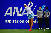 Nelly Korda of the United States plays her shot from the first tee during the final round of the ANA Inspiration at the Mission Hills Country Club in Palm Desert, California, USA. 4/1/18.<br /> <br /> Picture: Golffile | Bruce Sherwood<br /> <br /> <br /> All photo usage must carry mandatory copyright credit (&copy; Golffile | Bruce Sherwood)