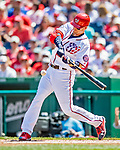 14 April 2018: Washington Nationals catcher Matt Wieters at bat in the second inning against the Colorado Rockies at Nationals Park in Washington, DC. The Nationals rallied to defeat the Rockies 6-2 in the 3rd game of their 4-game series. Mandatory Credit: Ed Wolfstein Photo *** RAW (NEF) Image File Available ***