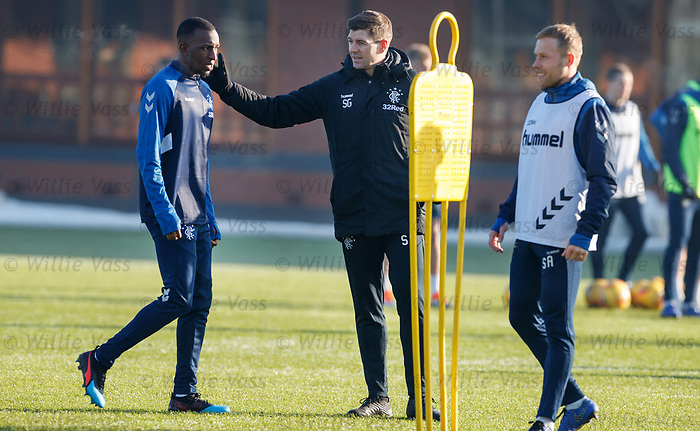 01.02.2019: Rangers training: Steven Gerrard and Glen Kamara