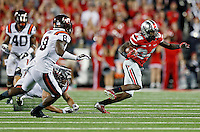Ohio State Buckeyes wide receiver Corey Smith (84) heads up field after a catch against Virginia Tech Hokies in the 4th quarter of their game in Ohio Stadium on September 6, 2014.  (Dispatch photo by Kyle Robertson)