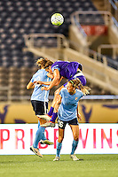 Orlando, FL - Saturday September 10, 2016: Kristin Grubka,Sarah Hagen,Sarah Killion during a regular season National Women's Soccer League (NWSL) match between the Orlando Pride and Sky Blue FC at Camping World Stadium.