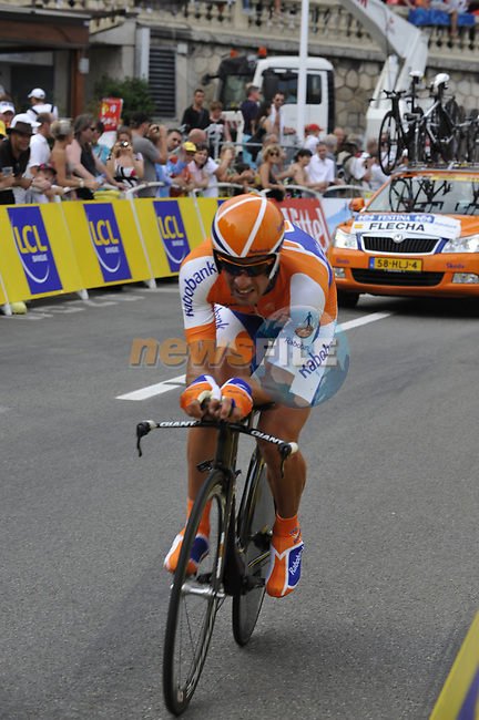 Rabobank team rider Juan Antonio Flecha (ESP) rounds the last bend of the Prologue Stage 1 of the 2009 Tour de France a 15.5km individual time trial held around Monaco. 4th July 2009 (Photo by Eoin Clarke/NEWSFILE)