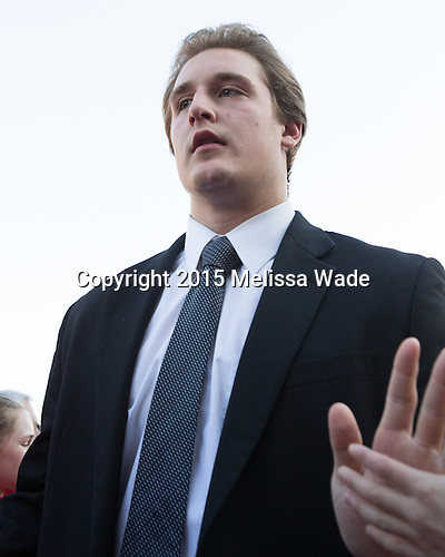 Noel Acciari (PC - 24) - The teams walked the red carpet through the Fan Fest outside TD Garden prior to the Frozen Four final on Saturday, April 11, 2015, in Boston, Massachusetts.