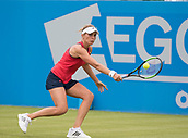 June 10th 2017,  Nottingham, England; WTA Aegon Nottingham Open Tennis Tournament day 1; Backhand from Laura Deigman of Great Britain