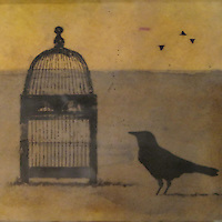 Mixed media encaustic photo painting of crow with cage on gold background.
