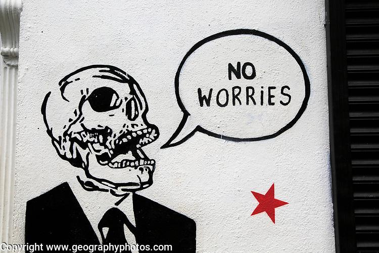 No Worries graffiti artwork spray painted on wall, city of Dublin, Ireland, Irish Republic