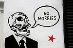 No Worries graffiti artwork spray painted on wall, city of Dublin, Ireland, Irish Republic