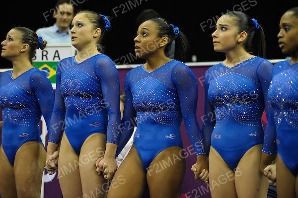 Olympic Test Event Artistic Gymnastics. O2 Arena London England. 11.1.12. Brazil wait for the news on Olympic Qualification