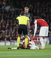 Arsenal's Danny Welbeck lays on the floor injured<br /> <br /> Photographer Rob Newell/CameraSport<br /> <br /> UEFA Europa League Group E - Arsenal v Sporting CP - Thursday 8th November 2018 - Arsenal Stadium - London<br />  <br /> World Copyright © 2018 CameraSport. All rights reserved. 43 Linden Ave. Countesthorpe. Leicester. England. LE8 5PG - Tel: +44 (0) 116 277 4147 - admin@camerasport.com - www.camerasport.com