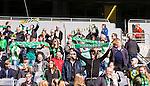 Stockholm 2015-04-11 Fotboll Damallsvenskan Hammarby IF DFF - Mallbackens IF Sunne  :  <br /> Hammarbys supportrar med halsdukar under matchen mellan Hammarby IF DFF och Mallbackens IF Sunne  <br /> (Foto: Kenta J&ouml;nsson) Nyckelord:  Fotboll Damallsvenskan Dam Damer Tele2 Arena Hammarby HIF Bajen Mallbacken supporter fans publik supporters