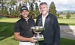 Mens Open winner, Luke Toomey with Paul Adams. Jennian Homes Charles Tour, Carrus Open, Tauranga Golf Club, Tauranga, New Zealand, Thursday 10 October 2019. Photo John Borren/www.bwmedia.co.nz