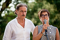 Stefano e Nunzia Mormile - Relatives of Umberto Mormile, Prisoner educator/teacher killed in Carpiano - Milan - by the Calabrian 'Ndrangheta mafia in 1990. <br /> <br /> Palermo (Sicily - Italy), 19/07/2017. &quot;Basta depistaggi e omert&agrave; di Stato!&quot; (&quot;Stop disinformation &amp; omert&aacute; by the State!&quot;)(1). Public event to commemorate the 25th Anniversary of the assassination of the anti-mafia Magistrate Paolo Borsellino along with five of his police &ldquo;scorta&rdquo; (Escorts from the special branch of the Italian police force who protect Judges): Agostino Catalano, Emanuela Loi (The first Italian female member of the police special branch and the first woman of this branch to be killed on duty), Vincenzo Li Muli, Walter Eddie Cosina and Claudio Traina. The event was held at Via D'Amelio, the road where Borsellino was killed. Family members of mafia victims, amongst others, made speeches about their dramatic experiences, mafia violence and unpunished crimes, State cover-ups, silence ('omert&aacute;'), and misinformation. Speakers included, amongst others, Vincenzo Agostino &amp; Augusta Schiera, Salvatore &amp; Cristina Catalano, Graziella Accetta, Massimo Sole, Paola Caccia, Luciano Traina, Angela Manca, Stefano Mormile, Ferdinando Imposimato, Judge Nino Di Matteo. The event ended with the screening of the RAI docu-fiction, 'Adesso Tocca A Me' ('Now it's My Turn' - Watch it here: http://bit.ly/2w3WJUX ).<br /> <br /> For more info &amp; a video of the event please click here: http://bit.ly/2eQfNT3 &amp; http://bit.ly/2eQbmrj &amp; http://19luglio1992.com &amp; http://bit.ly/2he8hCj<br /> <br /> (1) 'Omerta' is the term used in Italy to refer to the code of silence used by mafia organisations, as well as the culture of silence that is entrenched in society at large (especially among victims of mafia crimes, as they fear recriminations), about the existence of organised crime and its activities.