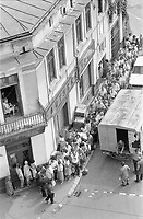 ROMANIA, Galati Street, Bucharest, 05.1982.Queuing for sugar - from May, the ration was 1 kilo per month, by coupon..© Andrei Pandele / EST&OST