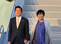 www.acepixs.com<br /> <br /> February 10 2017, West Palm Beach, FL<br /> <br /> Japanese Prime Minister Shinzo Abe and his wife Akie Abe arrive with President Donald Trump and his wife Melania Trump on Air Force One at the Palm Beach International Airport as they prepare to spend part of the weekend together at Mar-a-Lago resort on February 10, 2017 in West Palm Beach, Florida.<br /> <br /> Shinzo Abe and his wife Akie Abe<br /> <br /> By Line: Solar/ACE Pictures<br /> <br /> ACE Pictures Inc<br /> Tel: 6467670430<br /> Email: info@acepixs.com<br /> www.acepixs.com
