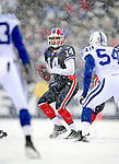 3 January 2010: Buffalo Bills' quarterback Ryan Fitzpatrick (14) in action against the Indianapolis Colts on a cold, snowy, final game of the season at Ralph Wilson Stadium in Orchard Park, New York. The Bills defeated the Colts 30-7. Mandatory Credit: Ed Wolfstein Photo