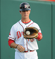 Catcher Carson Blair (18) of the Greenville Drive, Class A affiliate of the Boston Red Sox, prior to a game against the Hickory Crawdads on July 1, 2011, at Fluor Field at the West End in Greenville, South Carolina. (Tom Priddy/Four Seam Images)