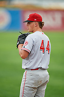 Greeneville Reds relief pitcher Stephen Keller (44) warms up in the bullpen during the second game of a doubleheader against the Princeton Rays on July 25, 2018 at Hunnicutt Field in Princeton, West Virginia.  Greeneville defeated Princeton 8-7.  (Mike Janes/Four Seam Images)