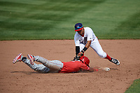 Auburn Doubledays shortstop Jose Sanchez (9) applies the tag on Ricardo Cespedes (32) on a pick off play during a game against the Batavia Muckdogs on June 17, 2018 at Falcon Park in Auburn, New York.  Auburn defeated Batavia 10-8.  (Mike Janes/Four Seam Images)