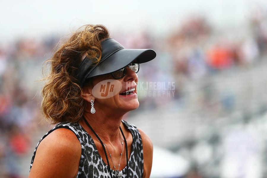 May 1, 2016; Baytown, TX, USA; Kay Torrence , mother of NHRA top fuel driver Steve Torrence during the Spring Nationals at Royal Purple Raceway. Mandatory Credit: Mark J. Rebilas-USA TODAY Sports