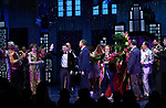 "Angie Schworer, Michael Potts, Beth Leavel, Chad Beguelin, Casey Nicholaw, Rob Martin, Caitlin Kinnunen, Brooks Ashmanskas, Christopher Sieber during the Broadway Opening Night Curtain Call of ""The Prom"" at The Longacre Theatre on November 15, 2018 in New York City."