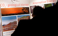"Visitors look at an exhibition on CO2 storage. Renewable sources will be helping to meet the world's demand for energy in the future. This development opens new markets and opportunities for business. Hoping to make ""green business"" and ""green profit"" over 60 exhibitors took part in the The North European Renewable Energy Convention (Nerec) , in Norway, presenting their solutions for renewable energy in the future. .© Fredrik Naumann/Felix Features"