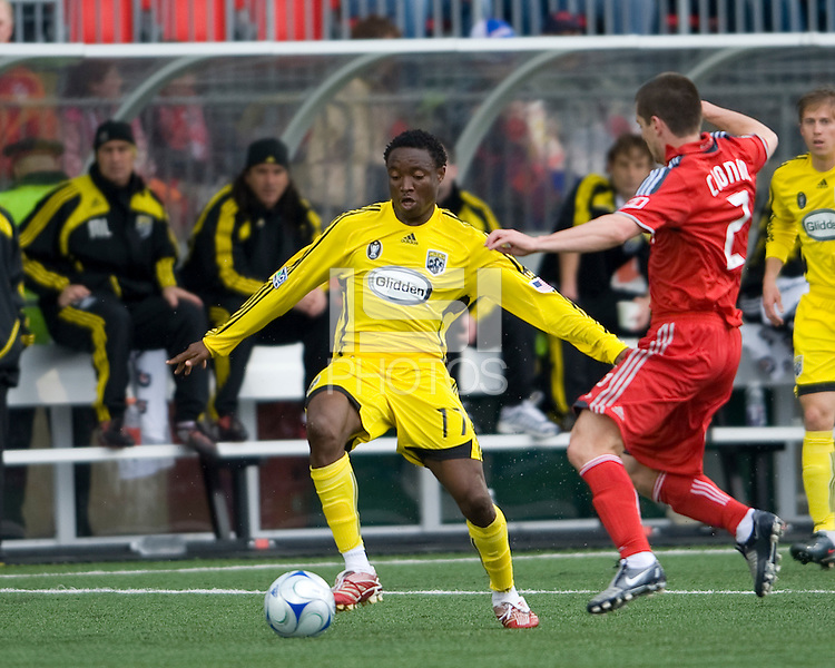 2 May 2009: Columbus Crew midfielder Emmanuel Ekpo #17 and Toronto FC midfielder Sam Cronin #2 in action at BMO Field in Toronto in a  game between the Columbus Crew and Toronto FC..The game ended in a 1-1 draw.