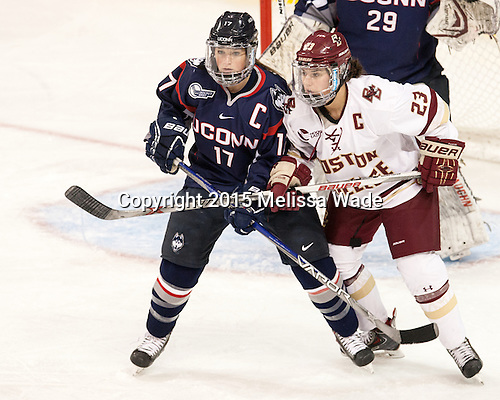 Caitlin Hewes (UConn - 17), Andie Anastos (BC - 23) - The Boston College Eagles defeated the visiting UConn Huskies 4-0 on Friday, October 30, 2015, at Kelley Rink in Conte Forum in Chestnut Hill, Massachusetts.
