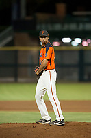 AZL Giants relief pitcher Keenan Bartlett (14) prepares to deliver a pitch to the plate against the AZL Reds on August 12, 2017 at Scottsdale Stadium in Scottsdale, Arizona. AZL Giants defeated the AZL Reds 1-0. (Zachary Lucy/Four Seam Images)