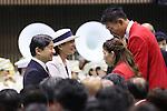 (L to R) <br /> Crown Prince Naruhito, <br /> Crown Princess Masako, <br />  Saori Yoshida, <br />  Keisuke Ushiro (JPN), <br /> JULY 3, 2016 : <br /> Japan National Team Organization Ceremony <br /> for Rio Olympic Games 2016 <br /> at 2nd Yoyogi Gymnasium, Tokyo, Japan. <br /> (Photo by YUTAKA/AFLO SPORT)