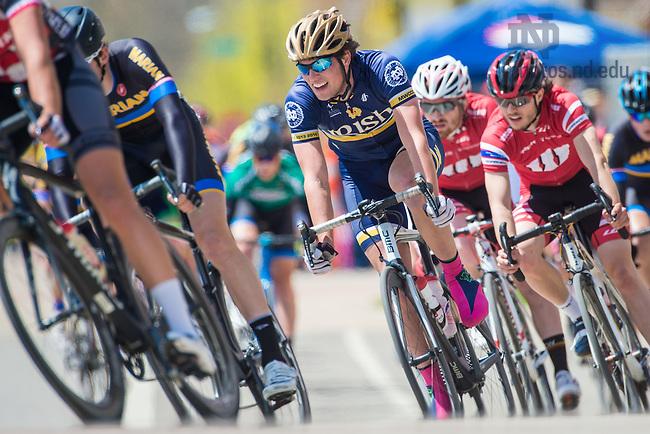 Apr. 26, 2015; John Pratt races as the Notre Dame Cycling Team hosts an event. (Photo by Matt Cashore/University of Notre Dame)