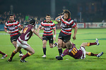 Robbie Robinson takes Tana Umaga around the ankles. ITM Cup & Ranfurly Shield rugby match between the Counties Manukau Steelers and the Southland Stags played at Rugby Park, Invercargill, on Saturday 14th of August, 2010..Southland won the game 13 - 9 after leading 11 - 6 at halftime.