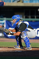 Catcher Benito Santiago (3) of Coral Springs Christian Academy in Pembroke Pines, Florida playing for the Colorado Rockies scout team during the East Coast Pro Showcase on August 1, 2013 at NBT Bank Stadium in Syracuse, New York.  (Mike Janes/Four Seam Images)