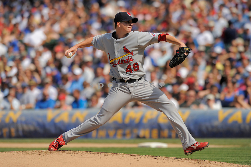 BRAD THOMPSON, of the St. Louis Cardinals in action  during the Cardinals game against the  Chicago Cubs, The  Cubs beat the Cardinals 7-3 in Chicago, Illinois on July 12, 2009...David Durochik