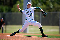 Dartmouth Big Green starting pitcher Cole O'Connor (33) delivers a pitch during a game against the Villanova Wildcats on March 3, 2018 at North Charlotte Regional Park in Port Charlotte, Florida.  Dartmouth defeated Villanova 12-7.  (Mike Janes/Four Seam Images)