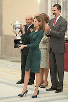 Queen Letizia of Spain awards Angela Salvadores during the 2013 Sports National Awards ceremony at El Pardo palace in Madrid, Spain. December 03, 2014. (ALTERPHOTOS/Victor Blanco)