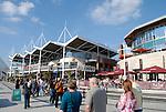 Gunwharf Quays shops and cafes, Portsmouth, Hampshire, England