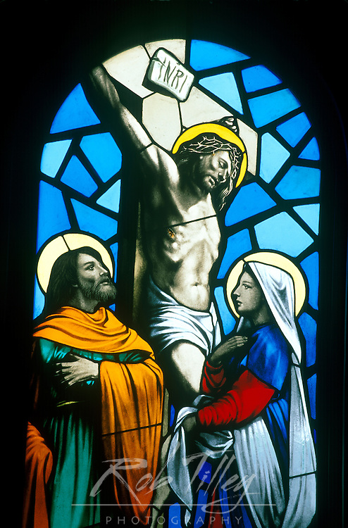 Asia, Japan, Nagasaki, Hirado, Tabira Catholic Church, Stained Glass Window
