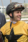 ARCADIA, CA FEBRUARY 10: Jockey Flavien Prat is all smiles after winning the San Vicente Stakes (Grade ll) on February 10, 2018 at Santa Anita Park in Arcadia, CA. (Photo by Casey Phillips/ Eclipse Sportswire/ Getty Images)