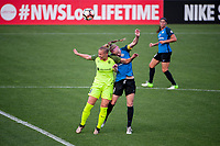 Kansas City, MO - Saturday June 17, 2017: Merritt Mathias, Becky Sauerbrunn during a regular season National Women's Soccer League (NWSL) match between FC Kansas City and the Seattle Reign FC at Children's Mercy Victory Field.