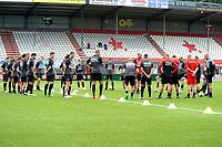 EMMEN - Voetbal, Eerste training FC Emmen , Jerns Vesting , 05-07-2017,  bespreking voorafgaand aan de training