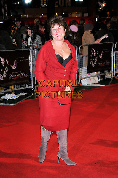 "RUBY WAX.""Sweeney Todd: The Demon Barber of Fleet Street"".European film premiere, Odeon cinema,  Leicester Square.10th January 2008 London, England.full length red dress black purple lilac boots black corset bra top.CAP/PL.Phil Loftus/Capital Pictures"