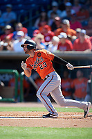 Baltimore Orioles left fielder Joey Rickard (23) follows through on a swing during a Grapefruit League Spring Training game against the Philadelphia Phillies on February 28, 2019 at Spectrum Field in Clearwater, Florida.  Orioles tied the Phillies 5-5.  (Mike Janes/Four Seam Images)