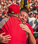 28 September 2014: Washington Nationals starting pitcher Jordan Zimmermann gets hugs from coaches after throwing his first career no-hitter against the Miami Marlins at Nationals Park in Washington, DC. The Nationals shut out the Marlins 1-0, caping the season with the first Nationals no-hitter in modern times. The win also notched a 96 win season for the Nats: the best record in the National League. Mandatory Credit: Ed Wolfstein Photo *** RAW (NEF) Image File Available ***